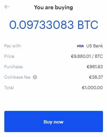 Compriamo 1000€ di Bitcoin su Coinbase