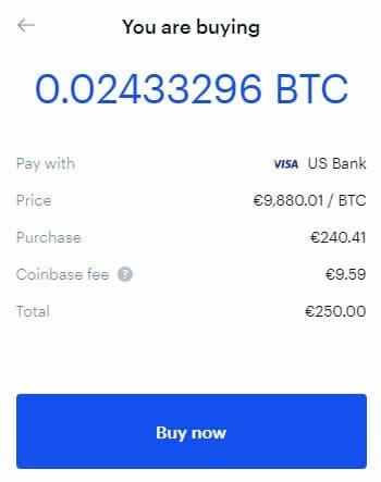 Compriamo 250€ di Bitcoin su Coinbase