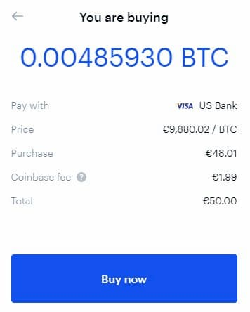 Compriamo 50€ di Bitcoin su Coinbase