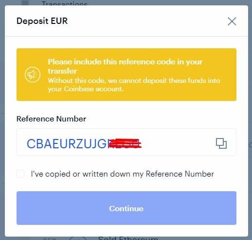 Inviare denaro a Coinbase con bonifico bancario – Passo 3