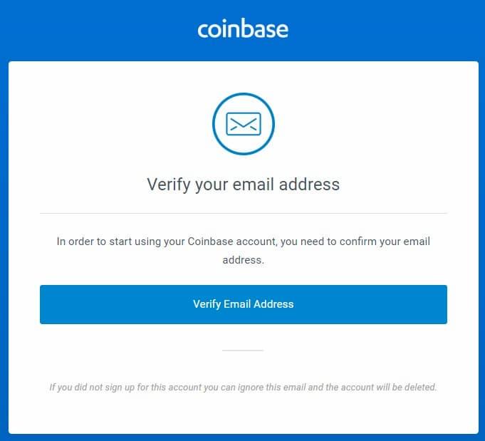 Creare un conto Coinbase - Conferma email