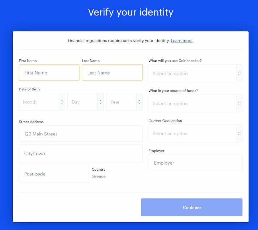 Creare un conto Coinbase - Conferma identità