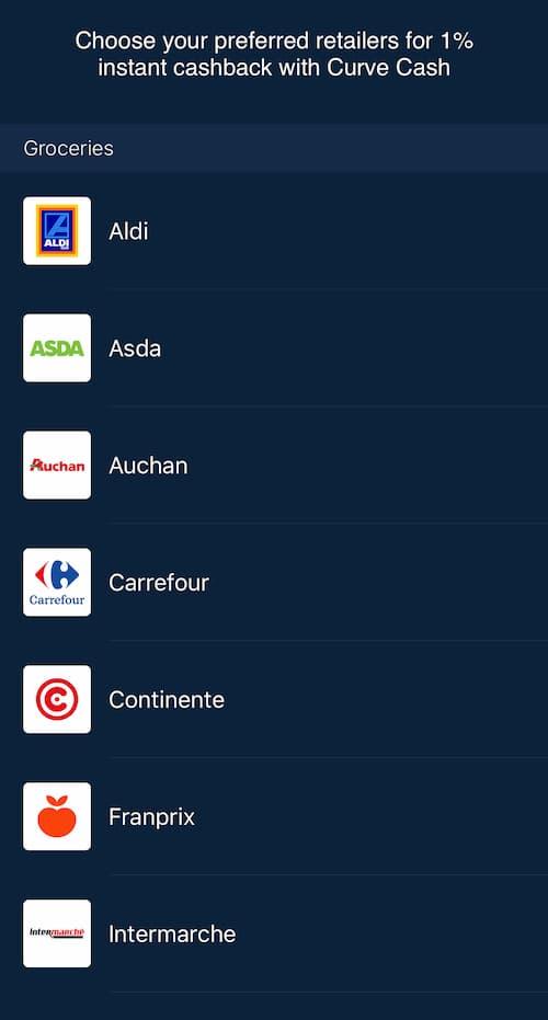 Cashback bónuszt kínáló kiskereskedők a Curve applikációban