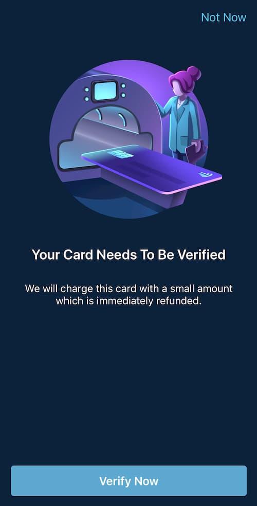 Bank/hitelkártya-ellenőrzés a Curve alkalmazásban