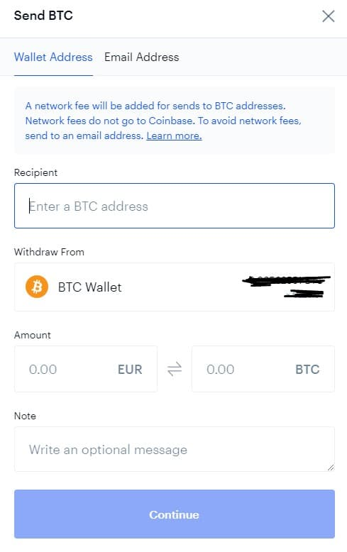 Transférer des bitcoins depuis Coinbase