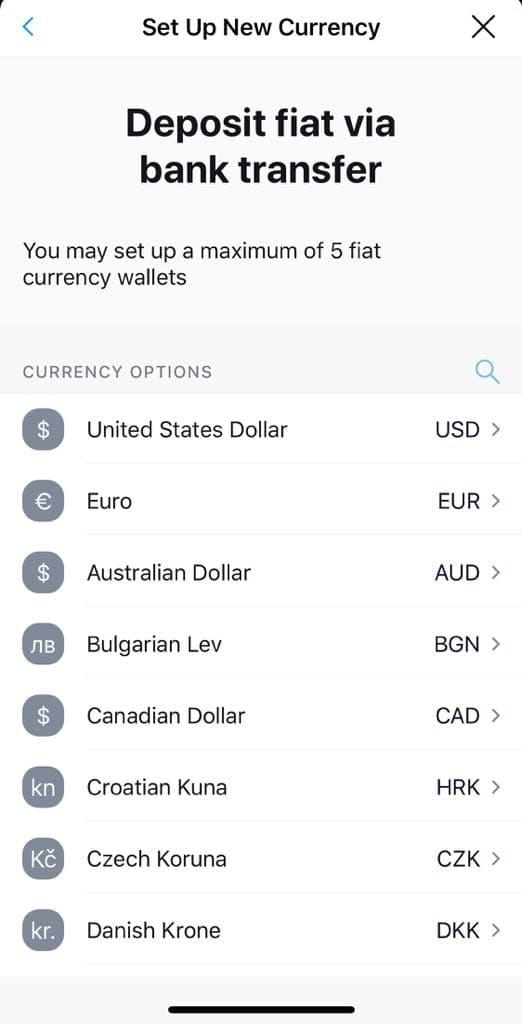 Créez des portefeuilles pour jusqu'à 5 devises différentes