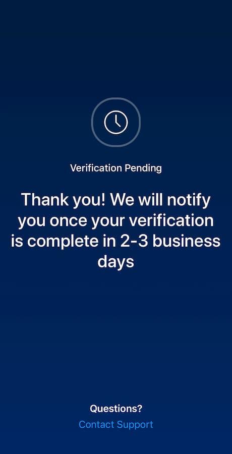 Le processus de vérification peut prendre de 2 à 3 jours ouvrables