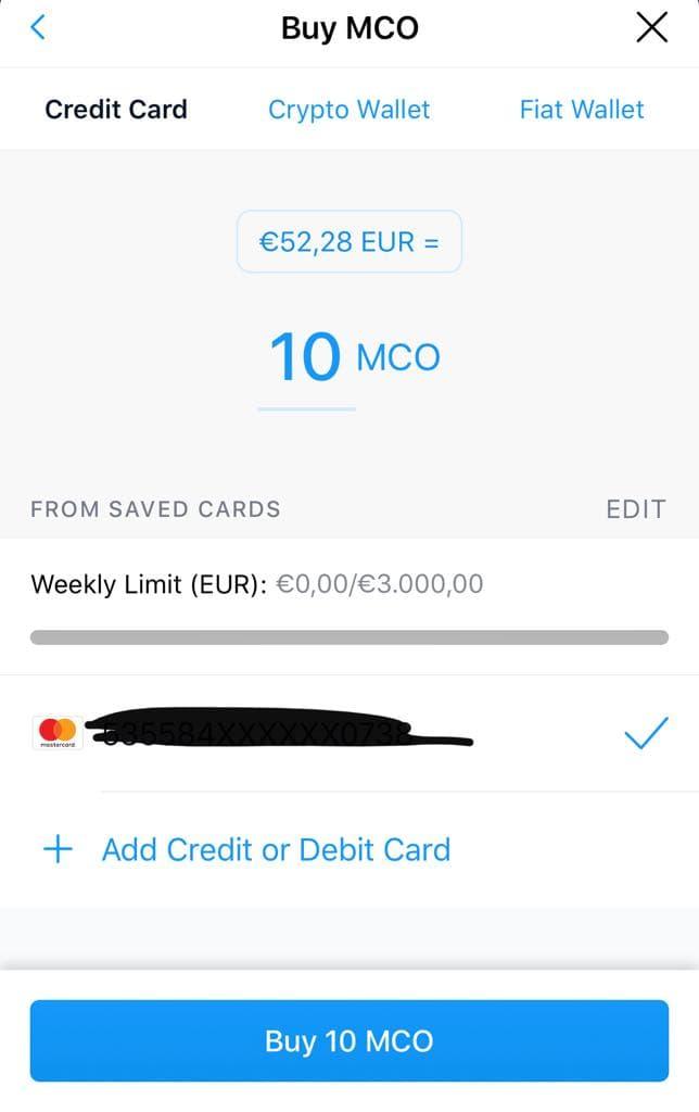 Ajoutez votre carte de crédit / débit sur crypto.com