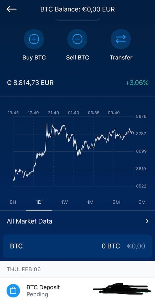Transfert de Bitcoin en attente vers Crypto.com