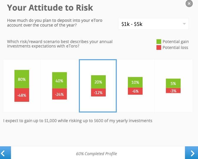 Risk Tolerance Levels - eToro Account Creation