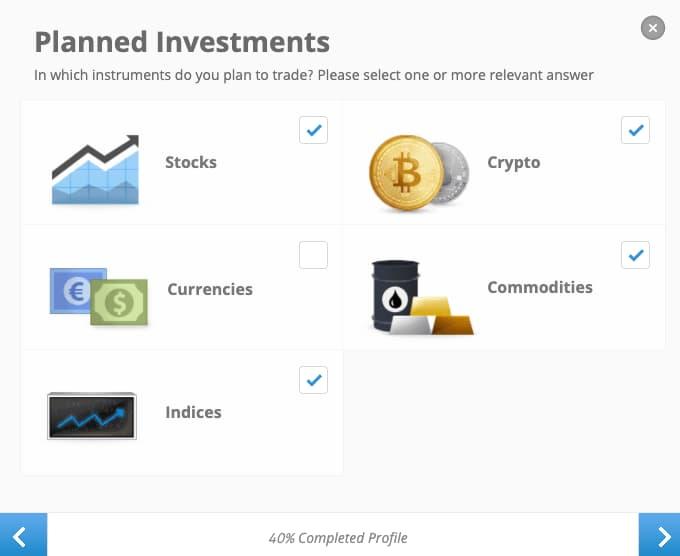 Choosing Investment Vehicles - eToro Account Creation