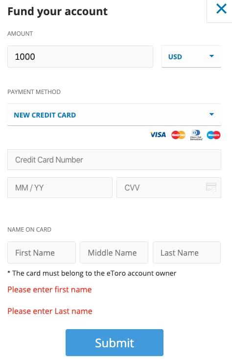 Deposito di Denaro con Carta di Credito su eToro