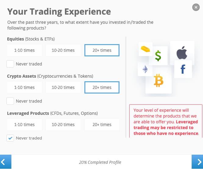 Trading Experience - eToro Account Creation