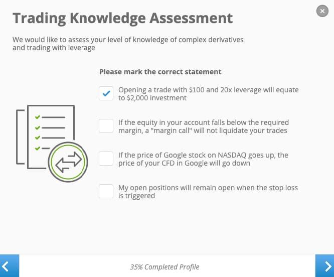 Trading Knowledge Test - eToro Account Creation