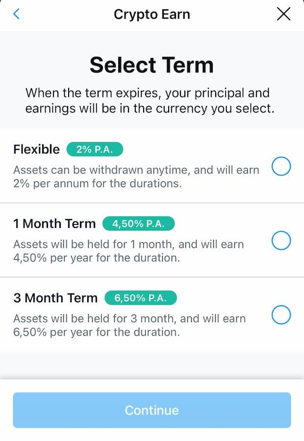 Exemple de taux d'Intérêt pour placement de Bitcoins :