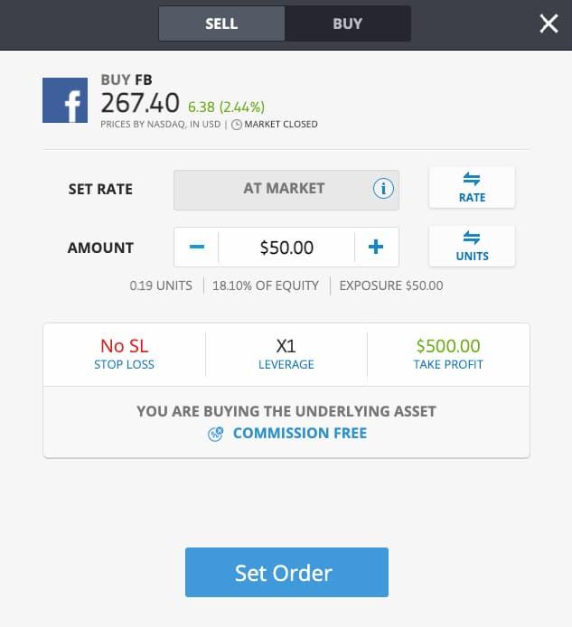 Acquisto di Azione di Facebook su eToro