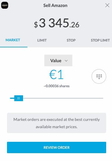 Vendita di azioni su Trading212
