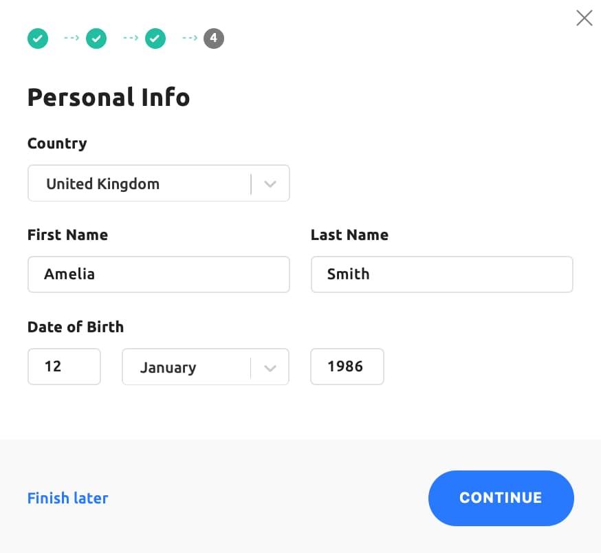 Información de la cuenta personal de Youhodler