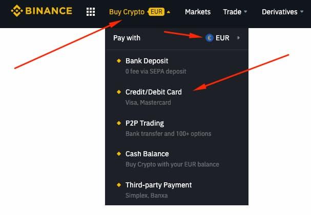 Compra de Bitcoin con Tarjeta en Binance