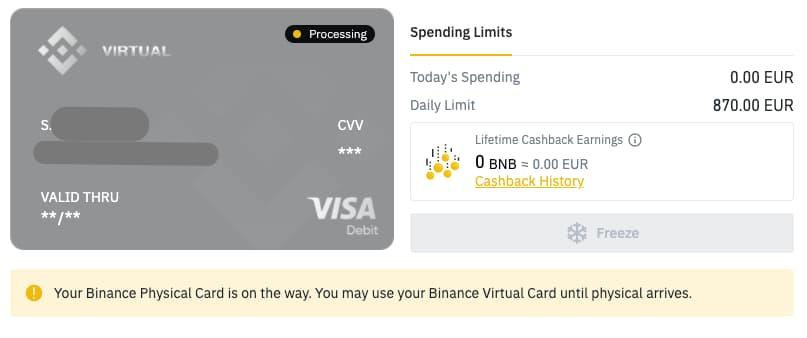 Tarjetas de débito virtuales de Binance