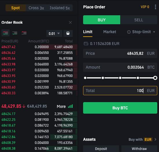 compra de bitcoin en binance