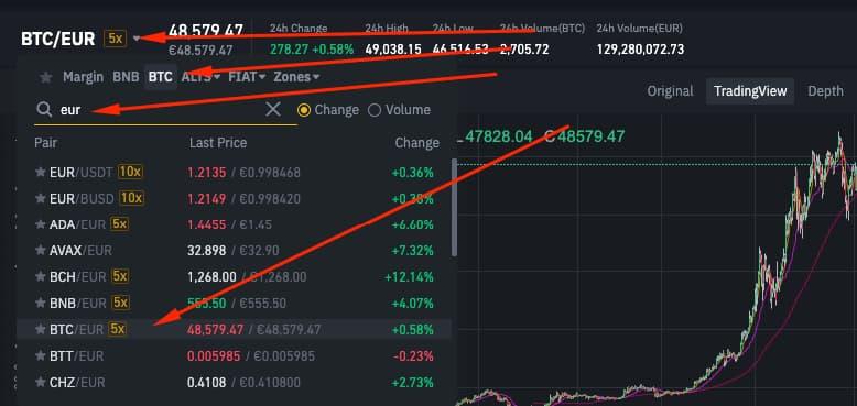 Trading BTC/EUR