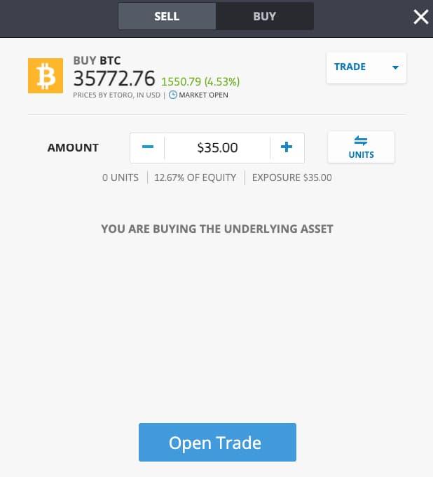 Αγορά Bitcoin από το etoro